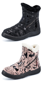 Women Snow Boots Winter Shoes with Warm Fur Lined Ankle Boot Waterproof Side Zippers Booties