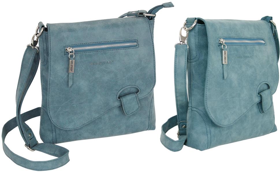 Bolso bandolera grande para mujer, color azul petróleo con solapa y cierre