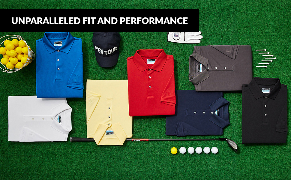 PGA TOUR men's golf tops laid out with golf clubs, tees, glove and golf hat