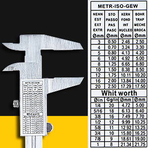 Back Stickers with Metric-ISO-GEW & Whit worth