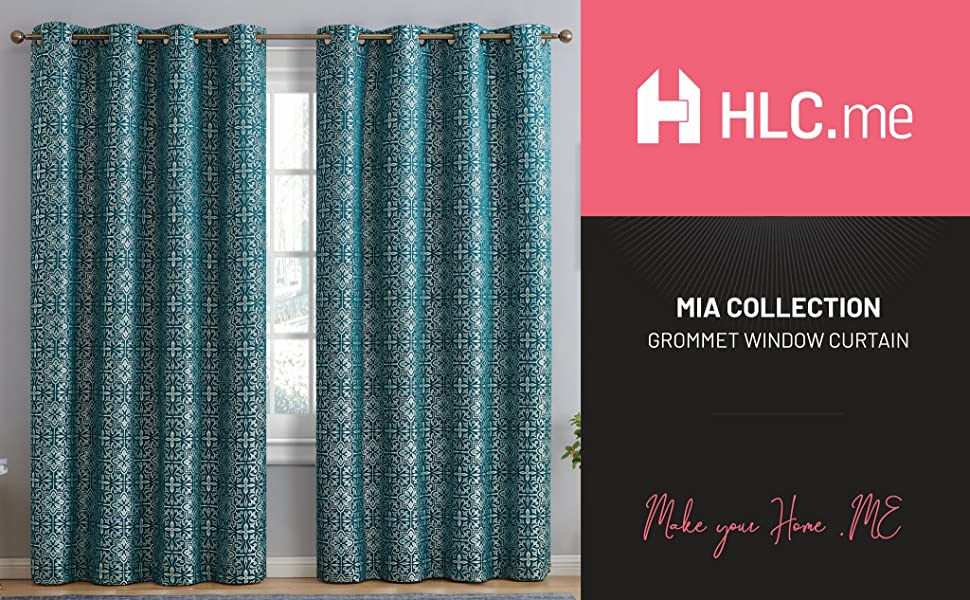 Mia Collection Grommet Window Curtain Teal