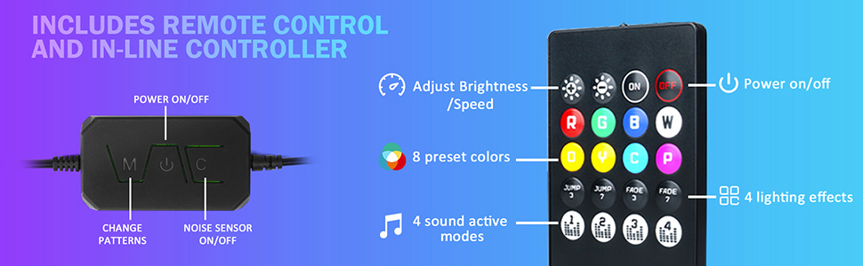 LED Lighting Kit for Cars Wireless Remote Multi-Color interior Exterior Neon Accent Underbody Strip