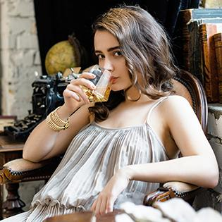 dragon glassware girl drinking from diamond glass