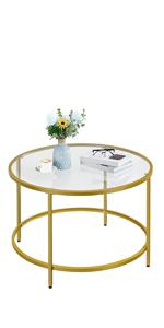 36in Gold Coffee Table