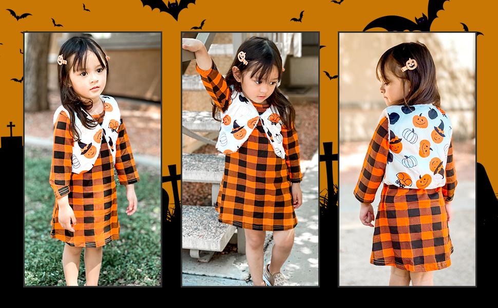 Little Girl Halloween Outfit Dress Infant Kids Thanksgiving Plaid Dress