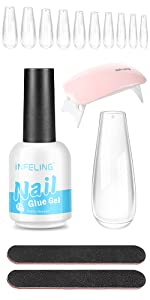 nail tips and glue gel kit