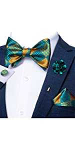 DiBanGu Teal and Gold Check Self Bow Tie Set with Brooch Pin