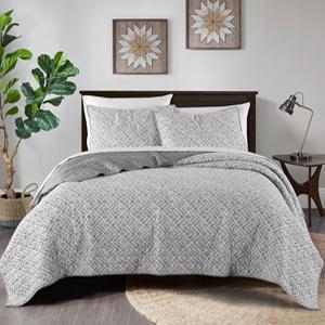 Grey Watercolor Geometric  3-Piece quilt Set-1