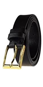 handmade black leather belt gold bucle dress casual