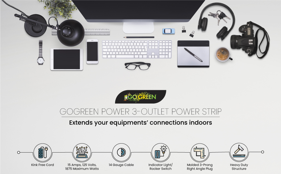GoGreen Power (GG-13002MS) 3 Outlet Power Strip, White, 2.5 Ft Cord