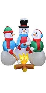 5 Foot Tall Huge Christmas Inflatable Snowmen Snowman Campfire Camping Roasting Marshmallows