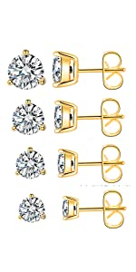 Pack of 4 CZ Gold Plated