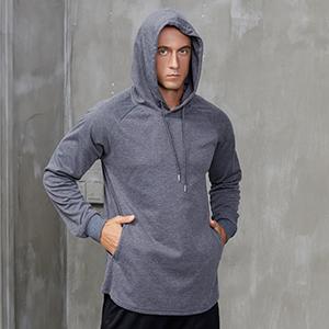 Mens Long Sleeve Hooded Sun Shirt UPF 50+ Fishing Hoodie Dri Fit SPF UV Shield Hiking