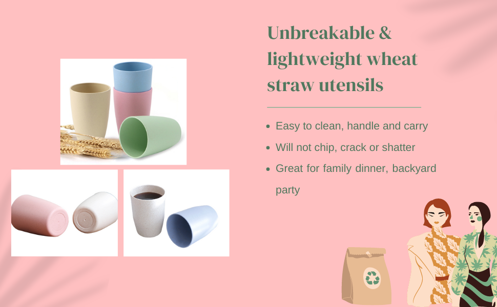 wheat straw cups for brushing teeth or drinking coffee