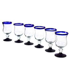 NOVICA,Blue,Rim,Glass,Wine Glass,Drinking,For Serving,Gift,Set Of 6,For Party,Kitchenware,Handmade