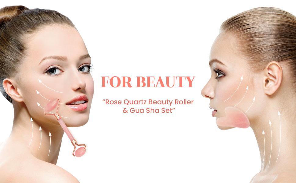 Rose Quartz Beauty Roller & Gua Sha Set