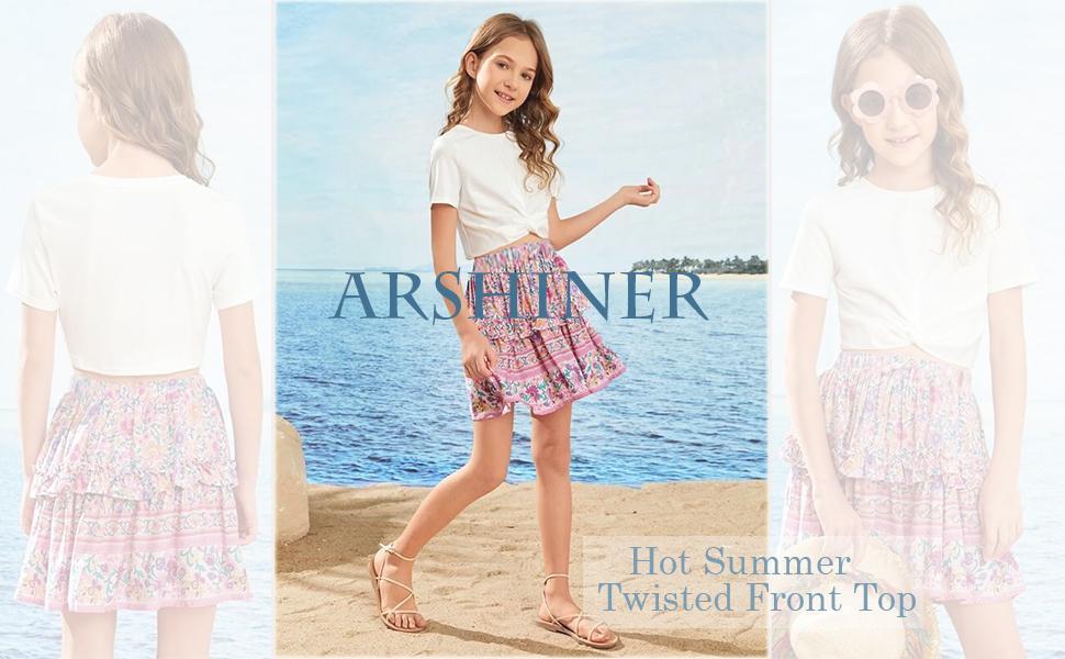 Kid Girls Short Sleeve Twist Front T-shirt