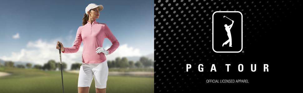 Woman golfer wearing PGA TOUR golf shirt and shorts
