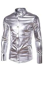 Mens Metallic Shiny Nightclub Styles Long Sleeves Button Down Dress Shirts