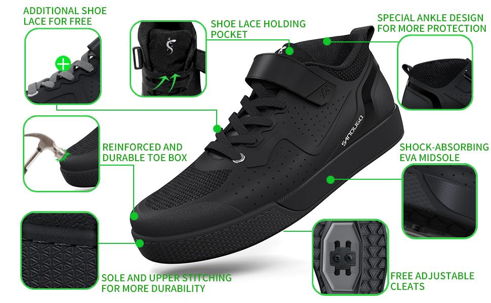 Compatibel met alle 2-bouts SPD-pedalen, platte pedalen