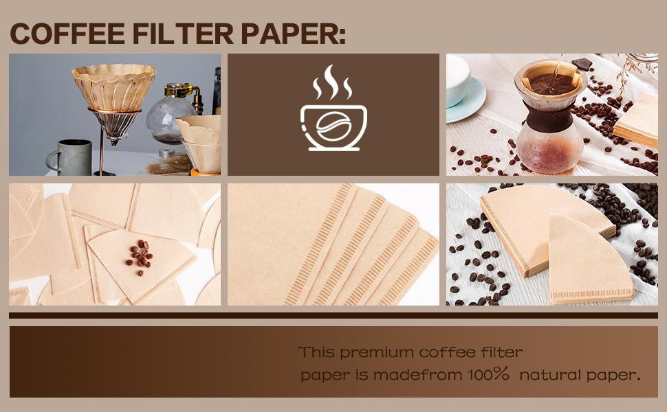 Coffee Filter Paper V02 Disposable Coffer Filters Natural Cone Shaped Unbleached Coffee Filter