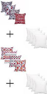 Accenthome Premium 4 Pc Pack Hypoallergenic Square Form Pillow Sham Stuffer 18x18 Inches Kitchen Dining