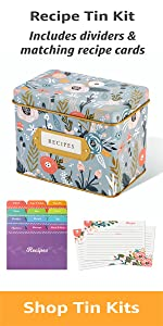 Garden Floral Gift Box Decorative Tin Box, Recipe Cards, 24 Index Dividers 24, 50 4x6 inch Cards