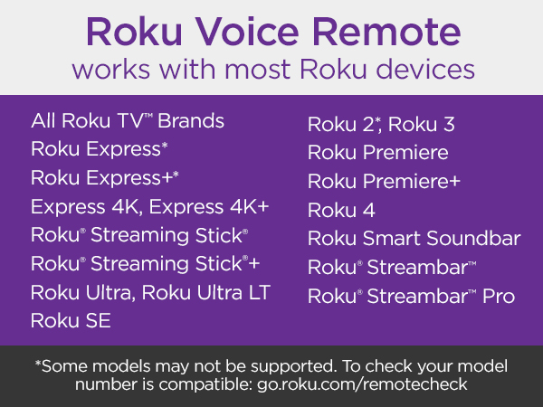 Roku voice remote works with most Roku devices