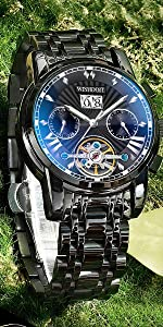 Black stainless steel mechanical watch