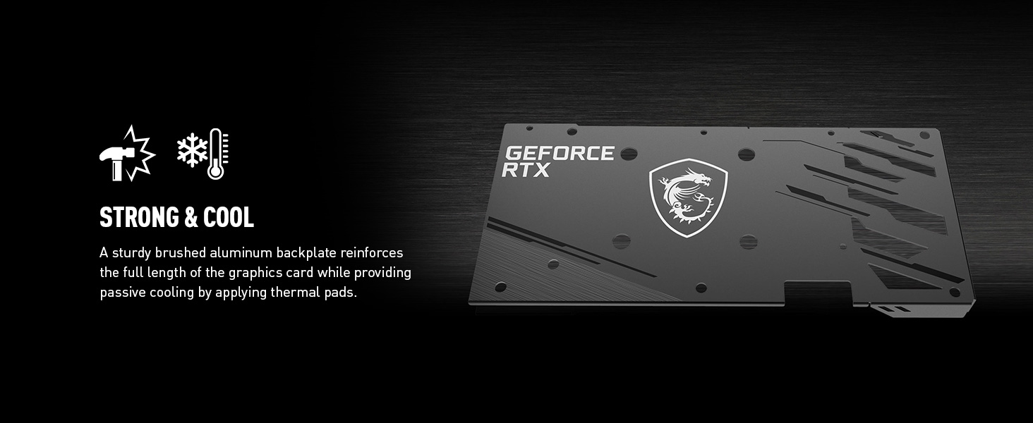 sturdy brushed aluminum backplate passive cooling by thermal pads extra gpu durability