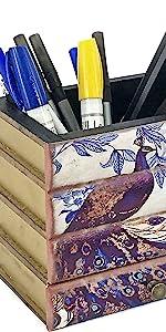 Bellaa Pencil Holder Vintage Book Box With Drawer Pen Holder Desk Organizer Candy