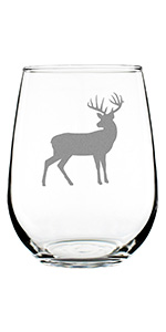 Deer silhouette design hand engraved onto a stemless wine glass.