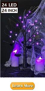 2FT Black Glitter Spooky Tree Lights with 24 LED Purple Lights