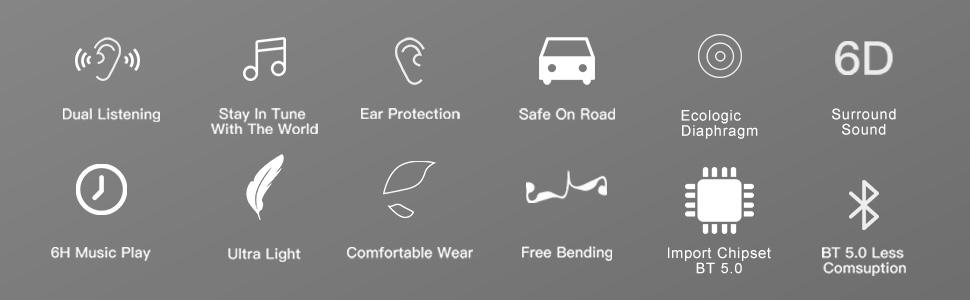 Ear protection, safe on road amp;amp; sporting, long music play time, Bluetooth 5.0