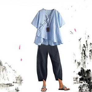 casual Retro Cropped Haren Pants Linen Capris Pants for Women