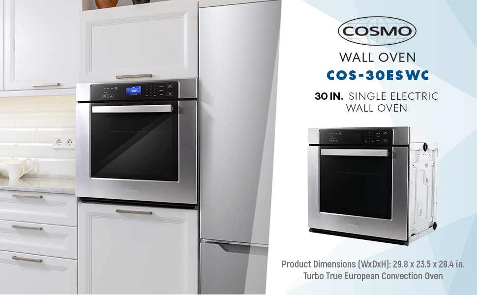 Cosmo, 30ESWC, 30 in, electric wall oven, temperature probe, self clean, European convection