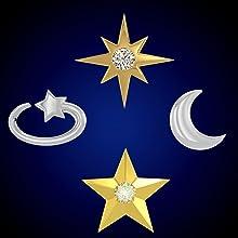 celestial star moon shooting star david star CZ diamond center 6 point star 5 point star gold