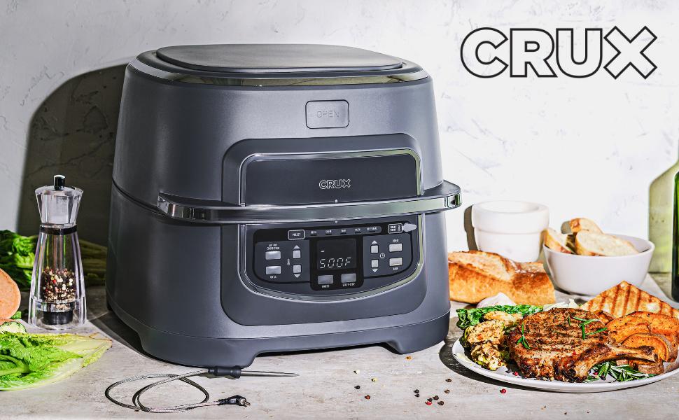 CRUX Indoor Grill amp; Air Fryer, Roasting, Baking, Grill 9qt cook pot, Matte Gray