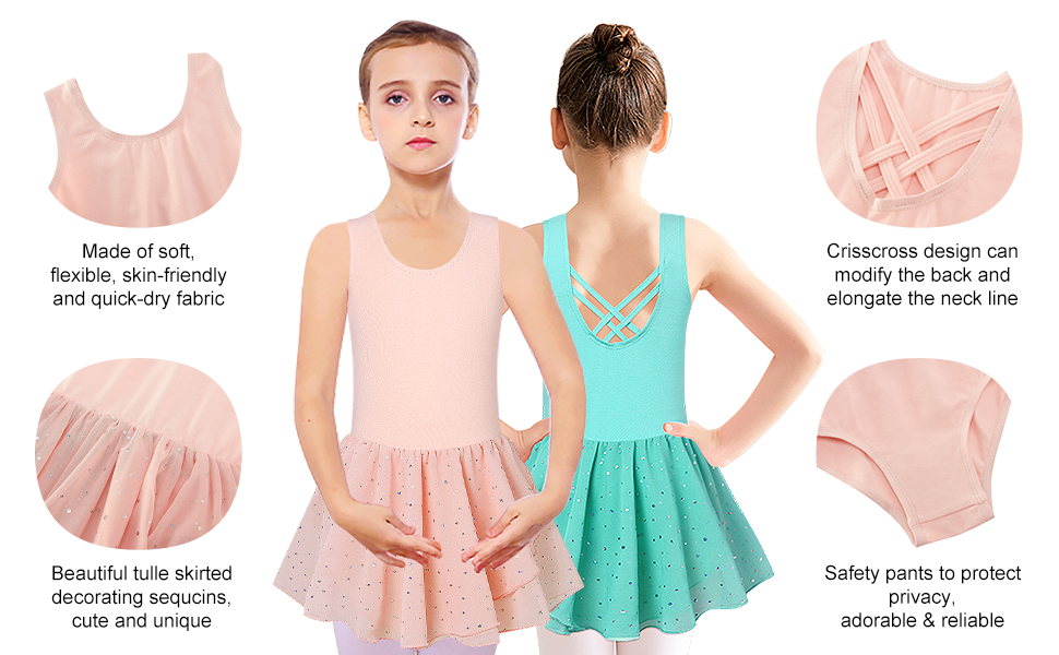 Girls Ballet Dance Leotards Camisole Tutu Dress with Shiny Skirt Ballerina Outfit 3-9 Years