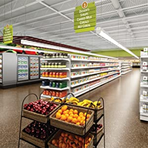 Metalux strip lighting utilized in a grocery retail store