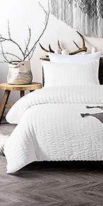 White seersucker comforter set