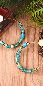 Turquoise Hoop Earrings in gold