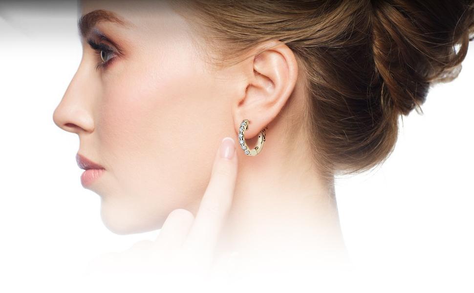 Diamond Hoop Earrings for Women