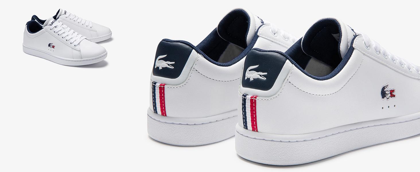 Sneakers blanche avec crocodile bleu blanc rouge