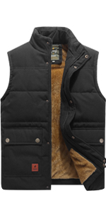 Casual Outdoor Fleece Padded Vest for Men Stand Collar Sleeveless Jackets Army Green