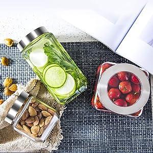Cube jar Square shape glass jar transparent kitchen spice storage container silver airtight lid