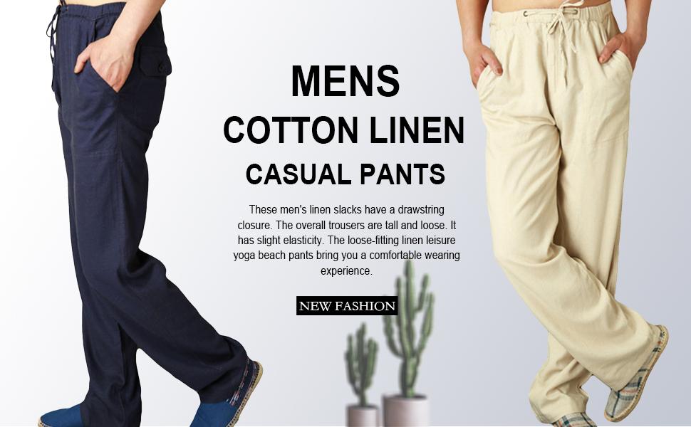 mens leisure pants elastic waist mens cotton pants house pants house pants men yoga pants men