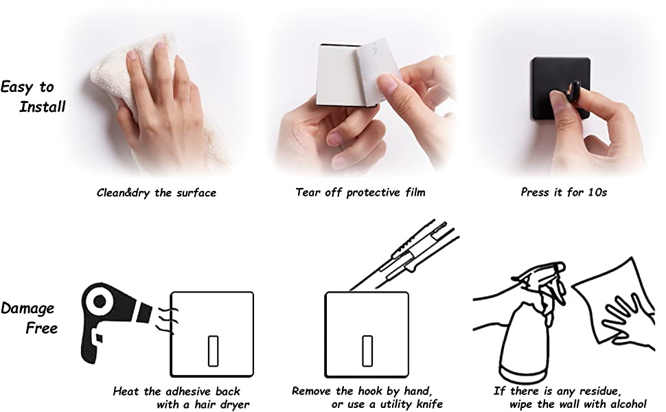 Black Adhesive Hook Easy to Use