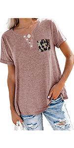 Women V Neck Leopard Pocket Tshirt Short Sleeve Button Casual Tee Shirt Loose Fit Tops