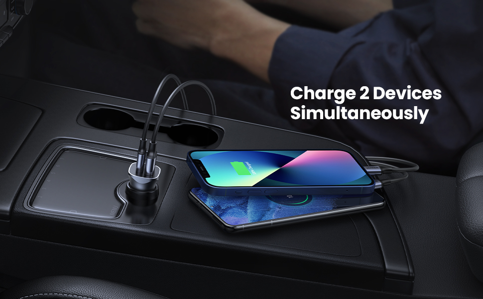 USB C Car Charger for 2 devices